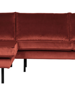 BePureHome Hoekbank 'Rodeo' Links, Velvet, kleur Chestnut
