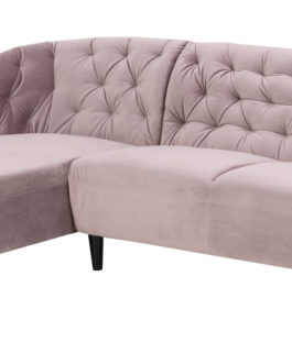 Bendt Loungebank 'Loes' Links, Velvet 2-zits, kleur Dusty Rose